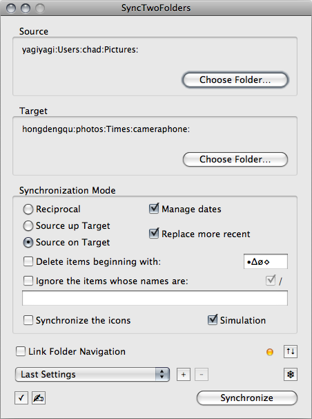 SyncTwoFolders interface